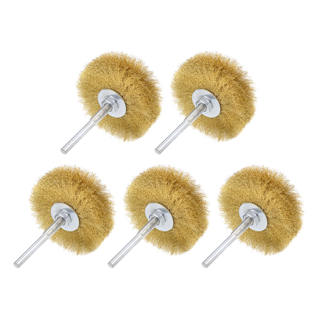 80mm Wire Wheel Brush Bench Brass Plated Crimped Steel 1/4 Inch Shank 5pcs
