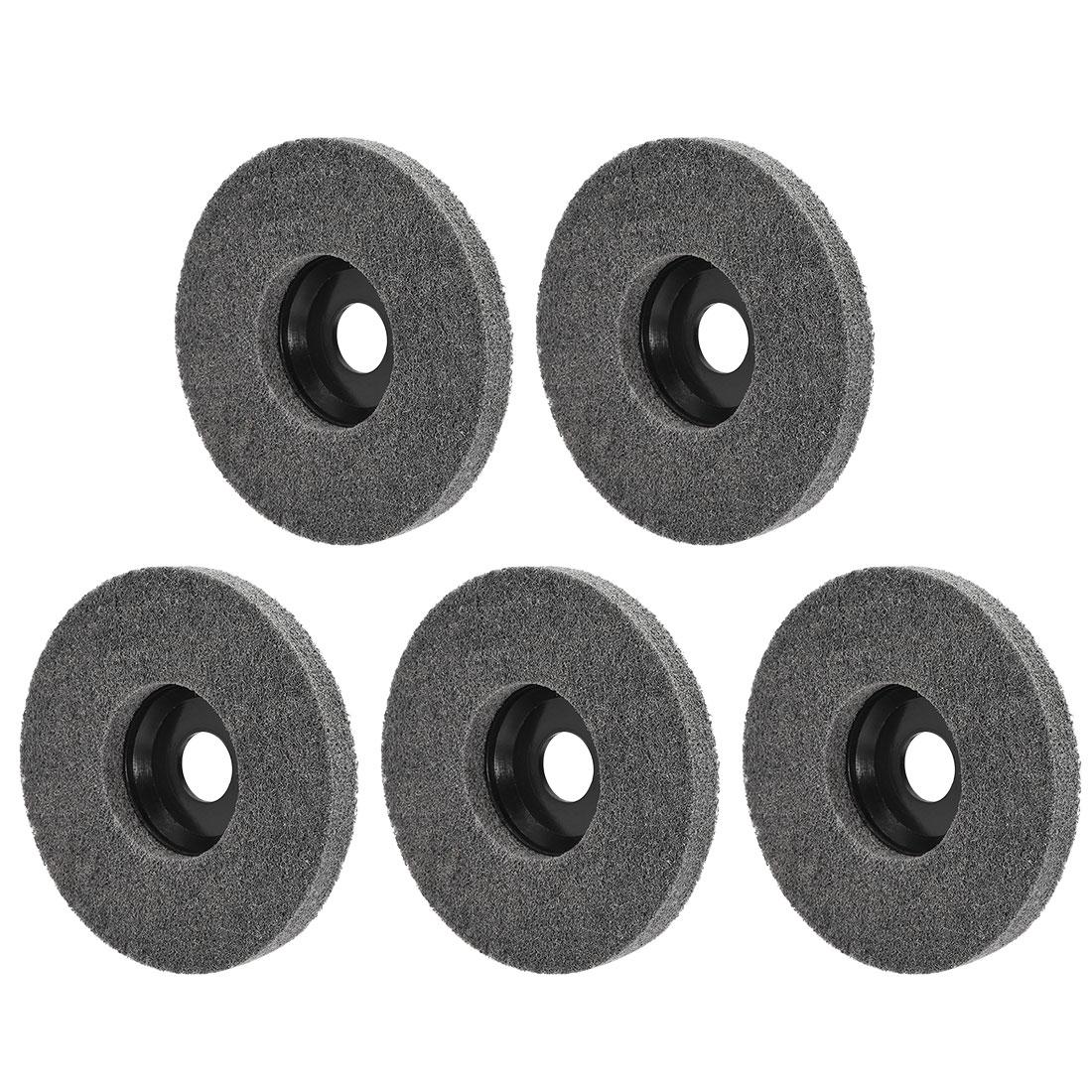 5 Inch Polishing Wheel Buffing Pad Felt Disc for 100 Angle Grinders Black 5pcs