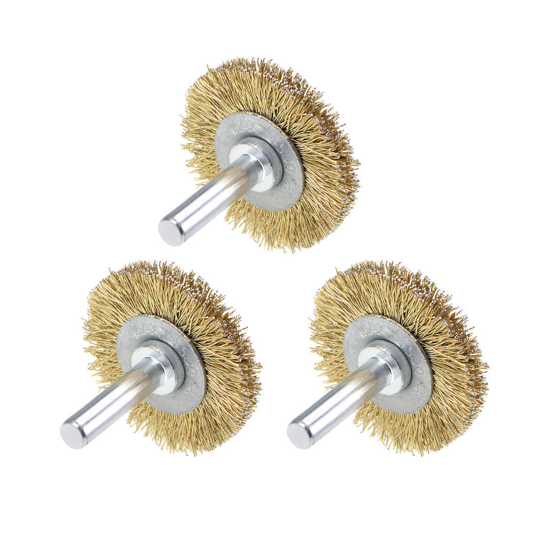 1-1/2-Inch Wire Wheel Brush Bench Brass Plated Crimped Steel 1/4-Inch Shank 3Pcs