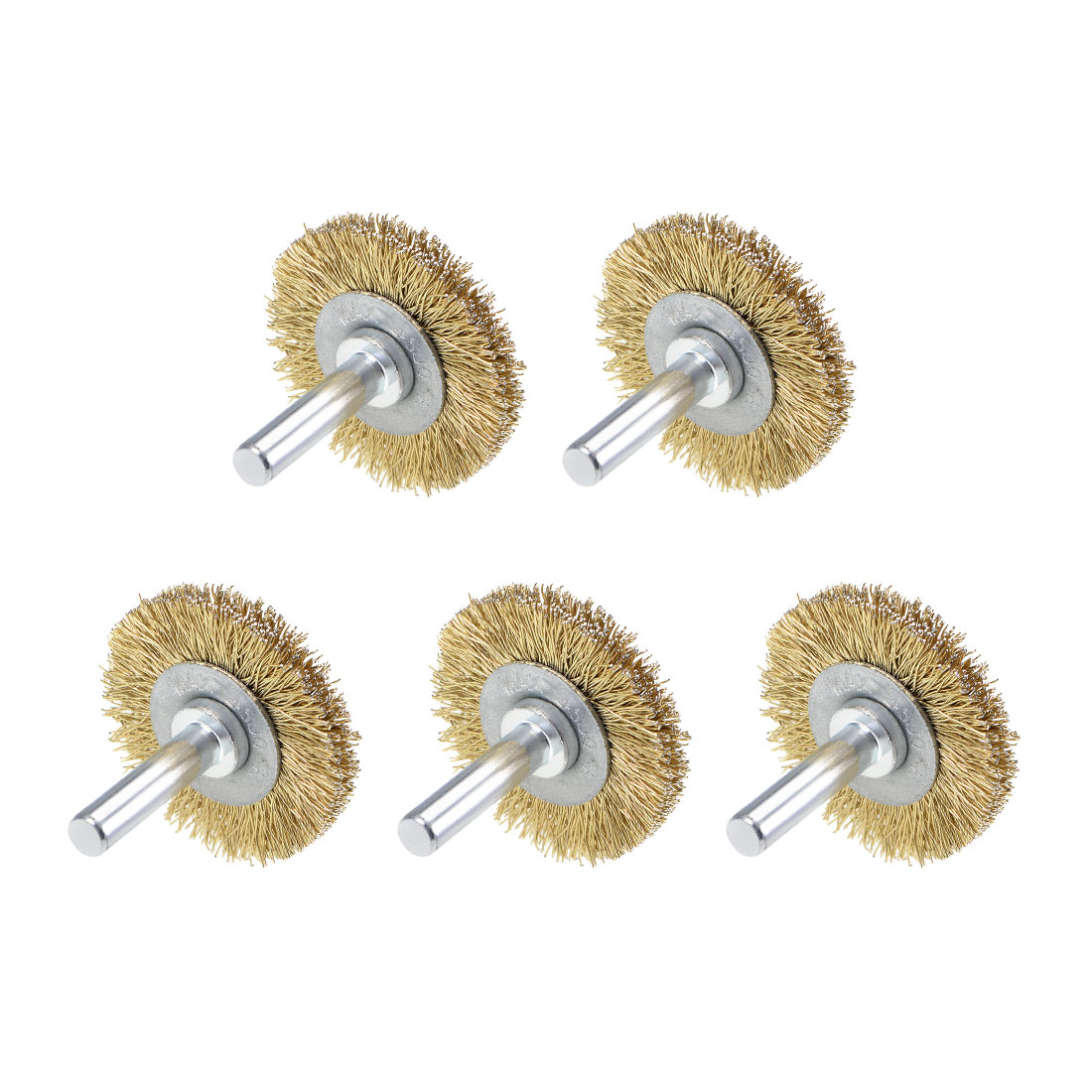 1-1/2-Inch Wire Wheel Brush Bench Brass Plated Crimped Steel 1/4-Inch Shank 5Pcs
