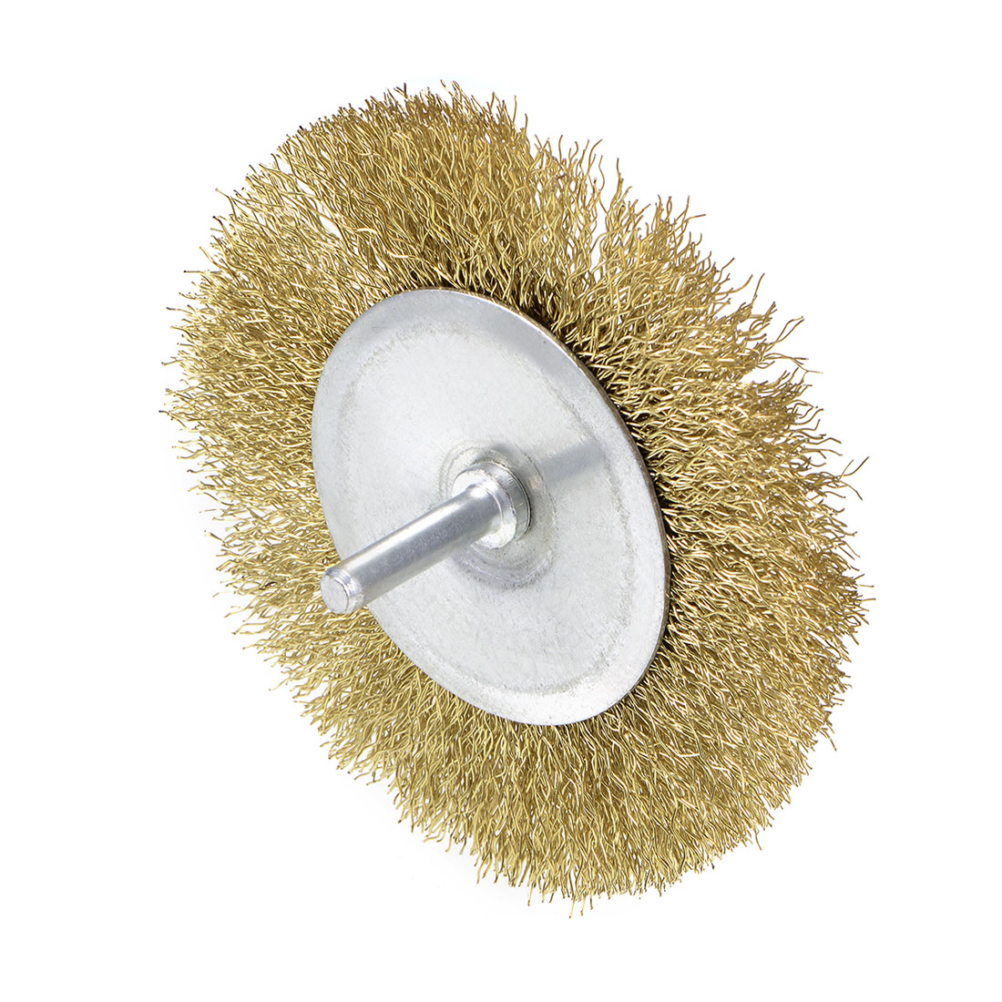 4-Inch Wire Wheel Brush Bench Brass Plated Crimped Steel 1/4- Inch Shank