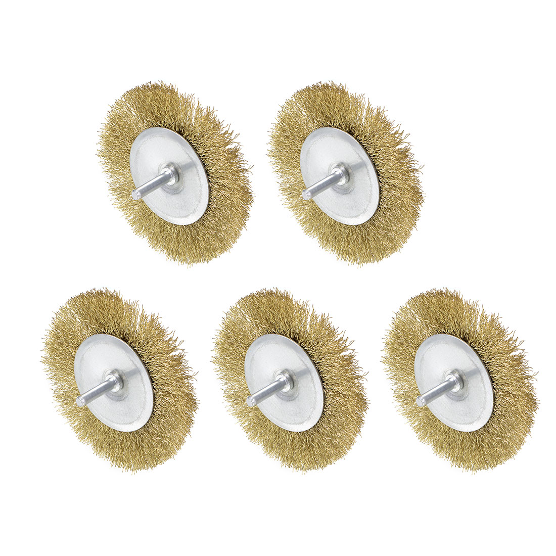 4-Inch Wire Wheel Brush Bench Brass Plated Crimped Steel 1/4-Inch Shank 5Pcs