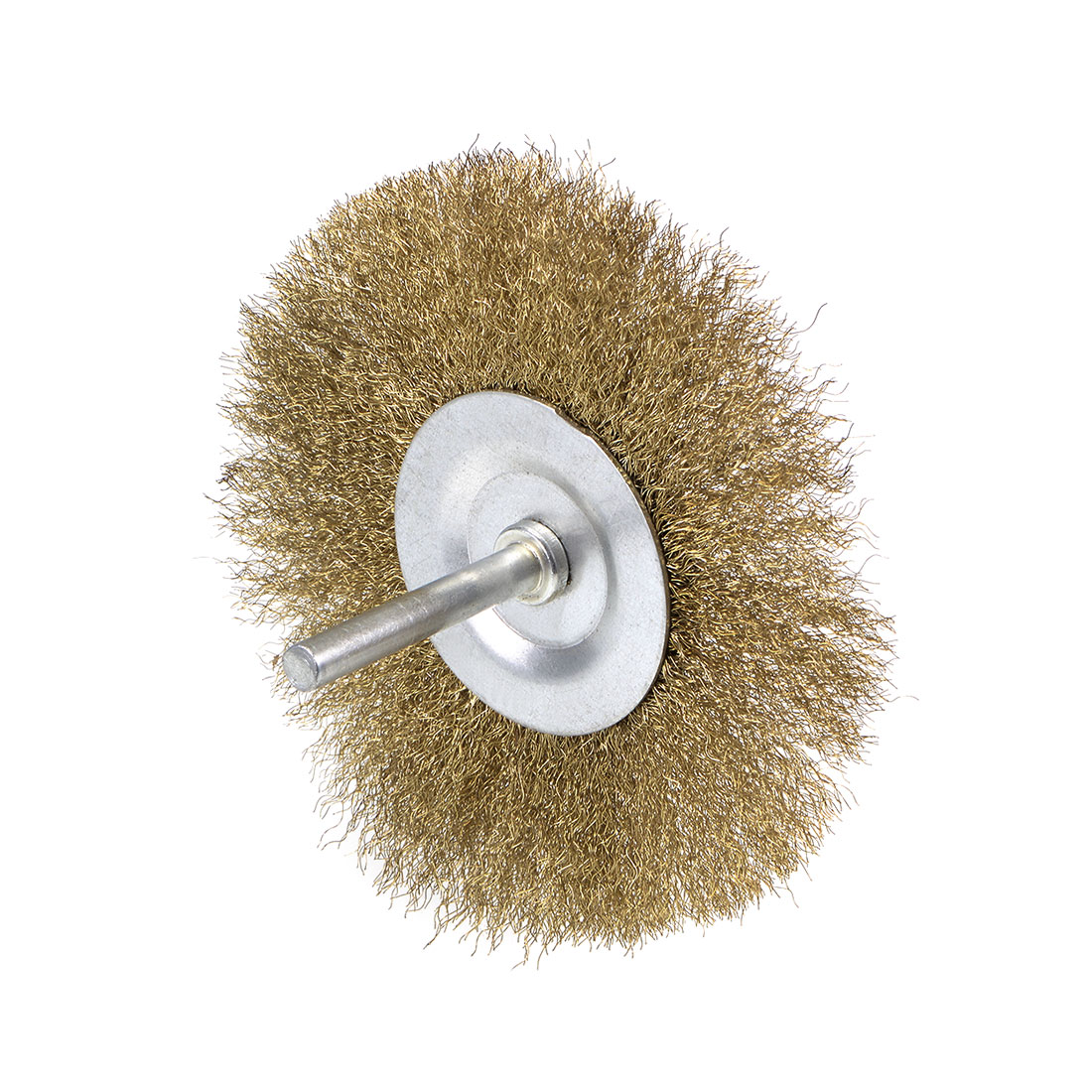 4-Inch Wire Wheel Brush Bench Brass Plated Crimped Steel 1/4-Inch Shank