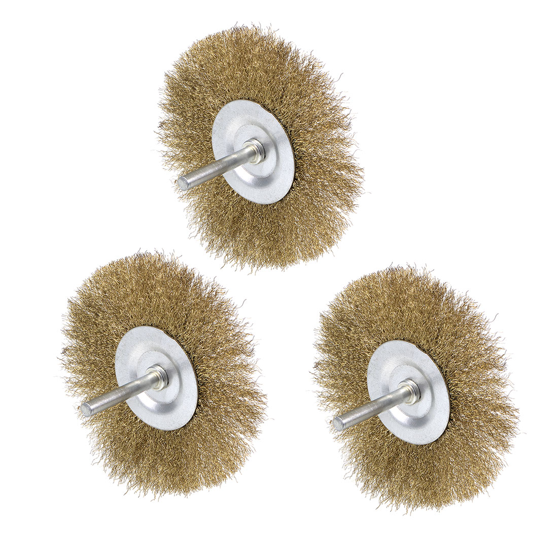 4-Inch Wire Wheel Brush Bench Brass Plated Crimped Steel 1/4-Inch Shank 3Pcs