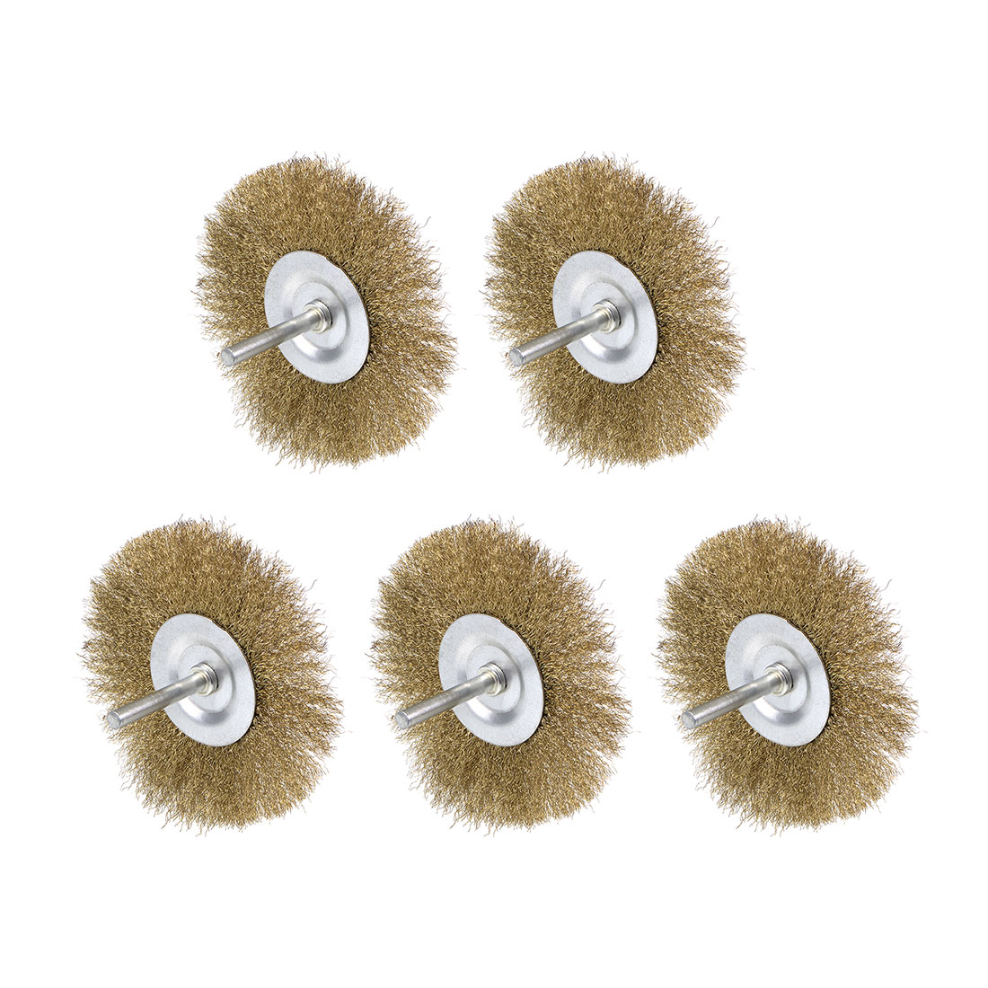 4-Inches Wire Wheel Brush Bench Brass Plated Crimped Steel 1/4-Inch Shank 5Pcs