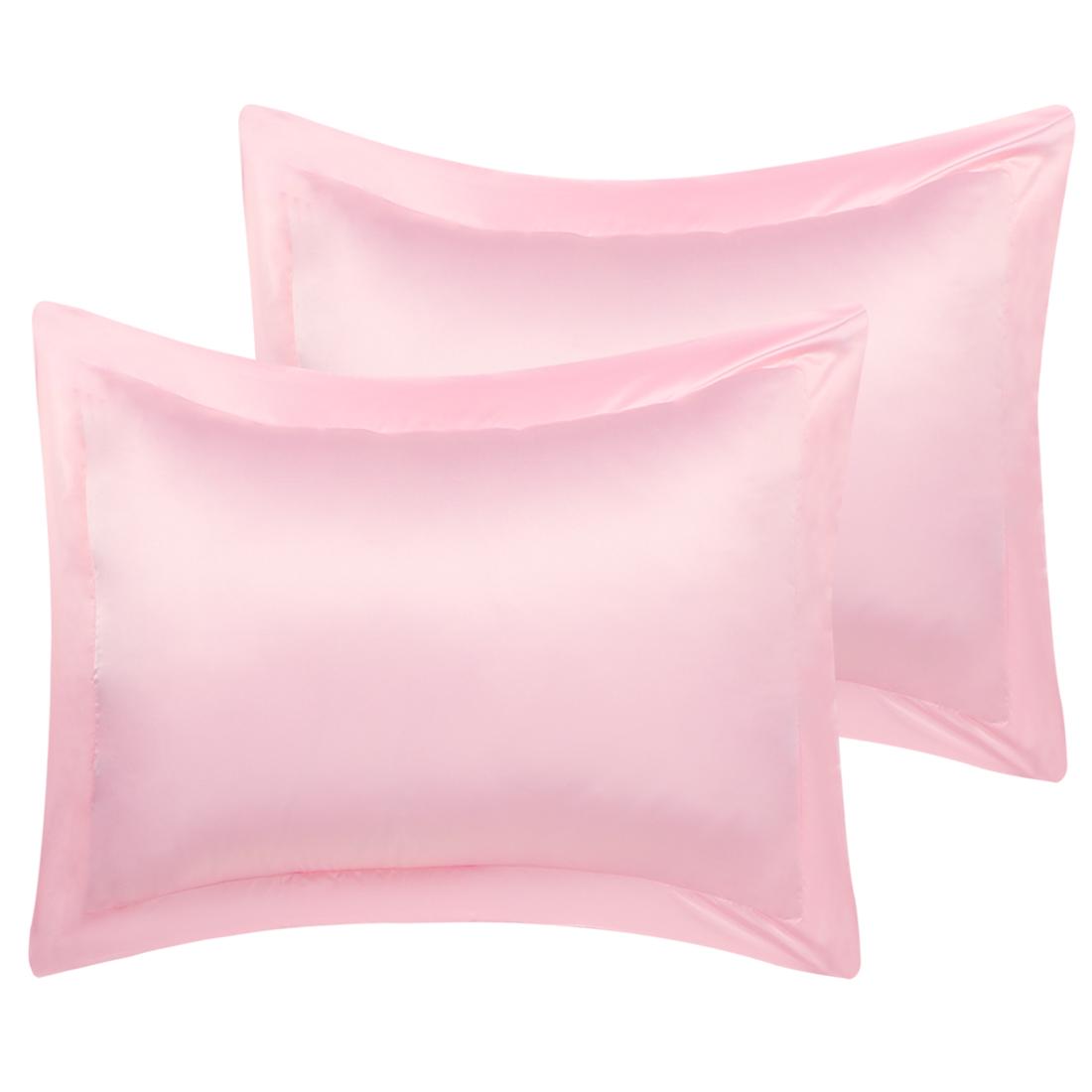 2 Pcs Peach Pillow Shams Satin Pillow Cases Boudoir Oxford Pillowcases