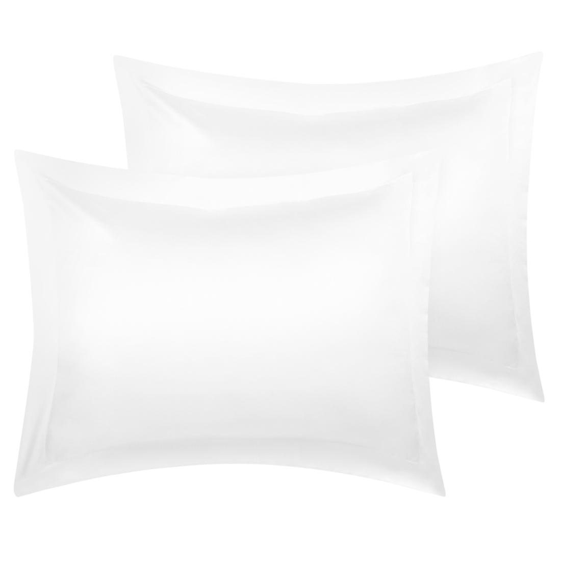 2 Pcs White Pillow Shams Satin Pillow Cases Boudoir Oxford Pillowcases