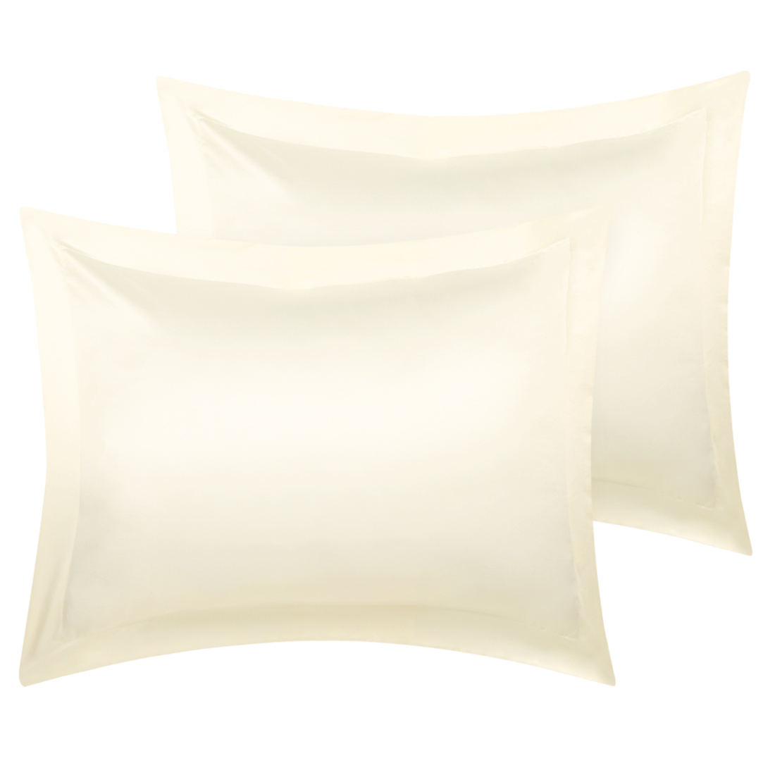 2 Pcs Cream Pillow Shams Satin Pillow Cases Boudoir Oxford Pillowcases