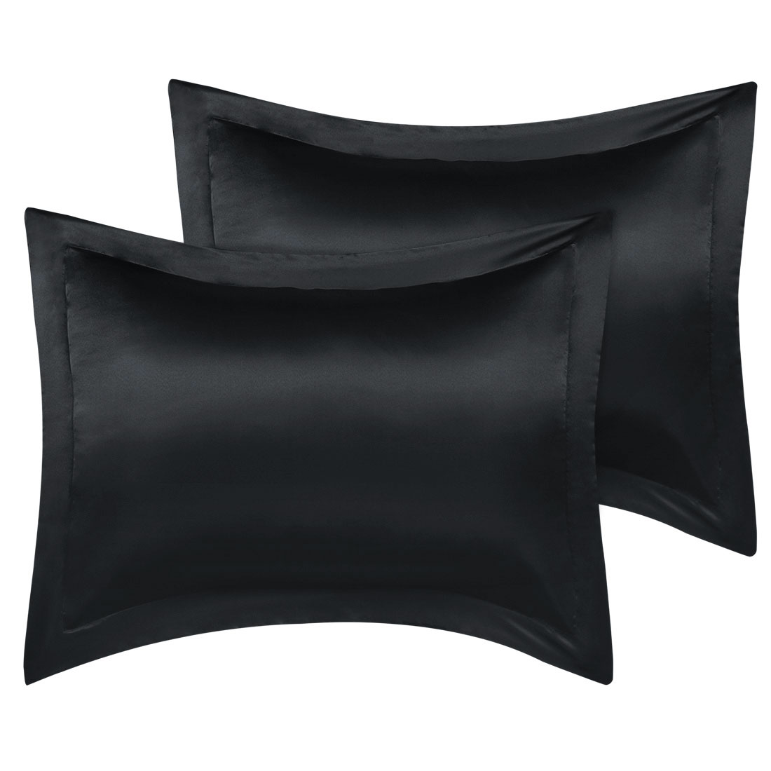 2 Pcs Black Pillow Shams Satin Pillow Cases Boudoir Oxford Pillowcases