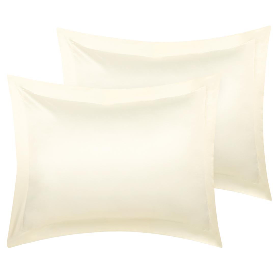 2 Pcs Cream Pillow Shams Satin Pillow Cases Standard Oxford Pillowcases