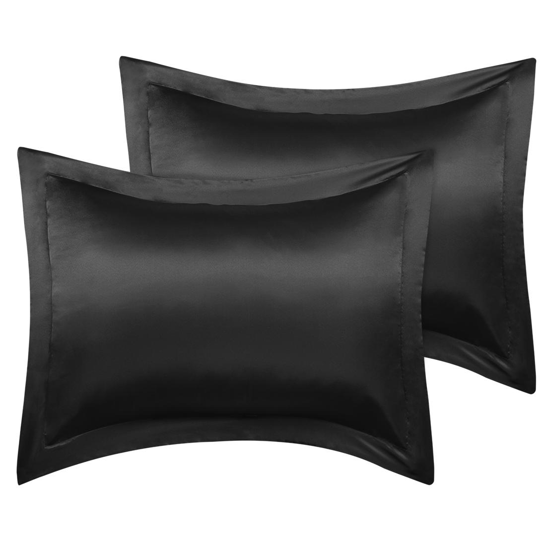 2 Pcs Black Pillow Shams Satin Pillow Cases Standard Oxford Pillowcases