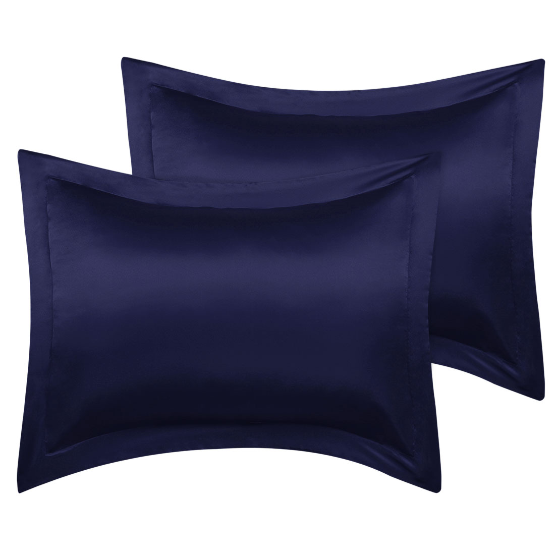 2 Pcs Navy Pillow Shams Satin Pillow Cases Standard Oxford Pillowcases