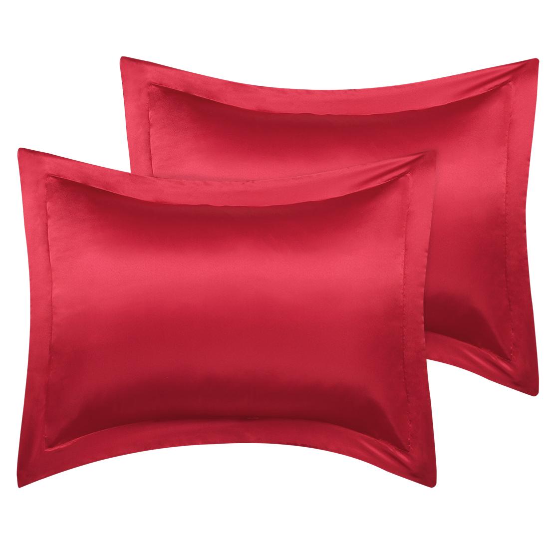 2 Pcs Wine Red Pillow Shams Satin Pillow Cases Standard Oxford Pillowcases