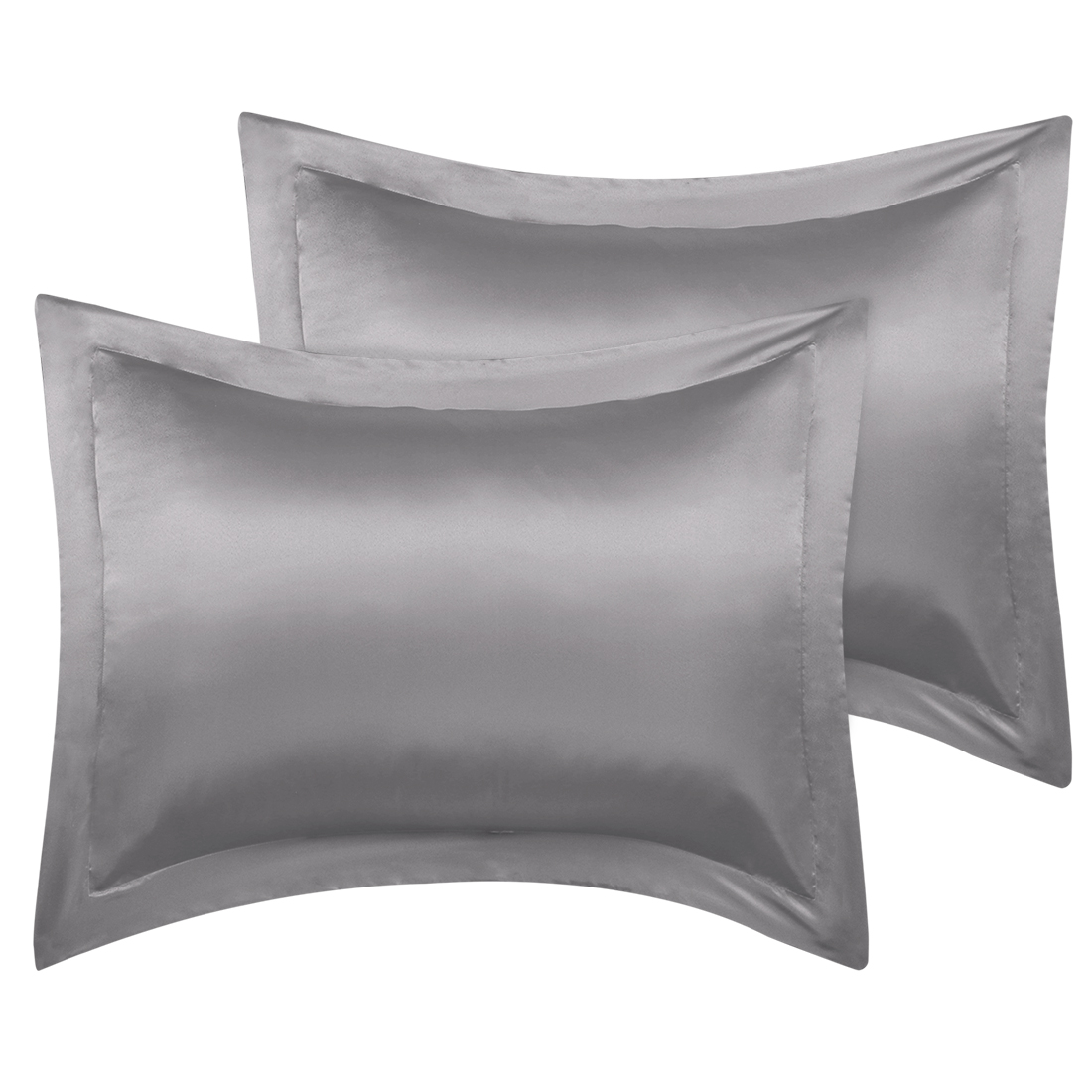 2 Pcs Grey Pillow Shams Satin Pillow Cases Standard Oxford Pillowcases