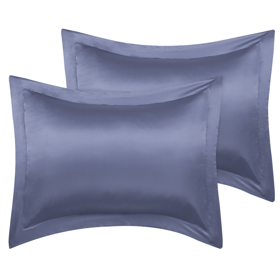 2 Pcs Slate Gray Pillow Shams Satin Pillow Cases Queen Oxford Pillowcases