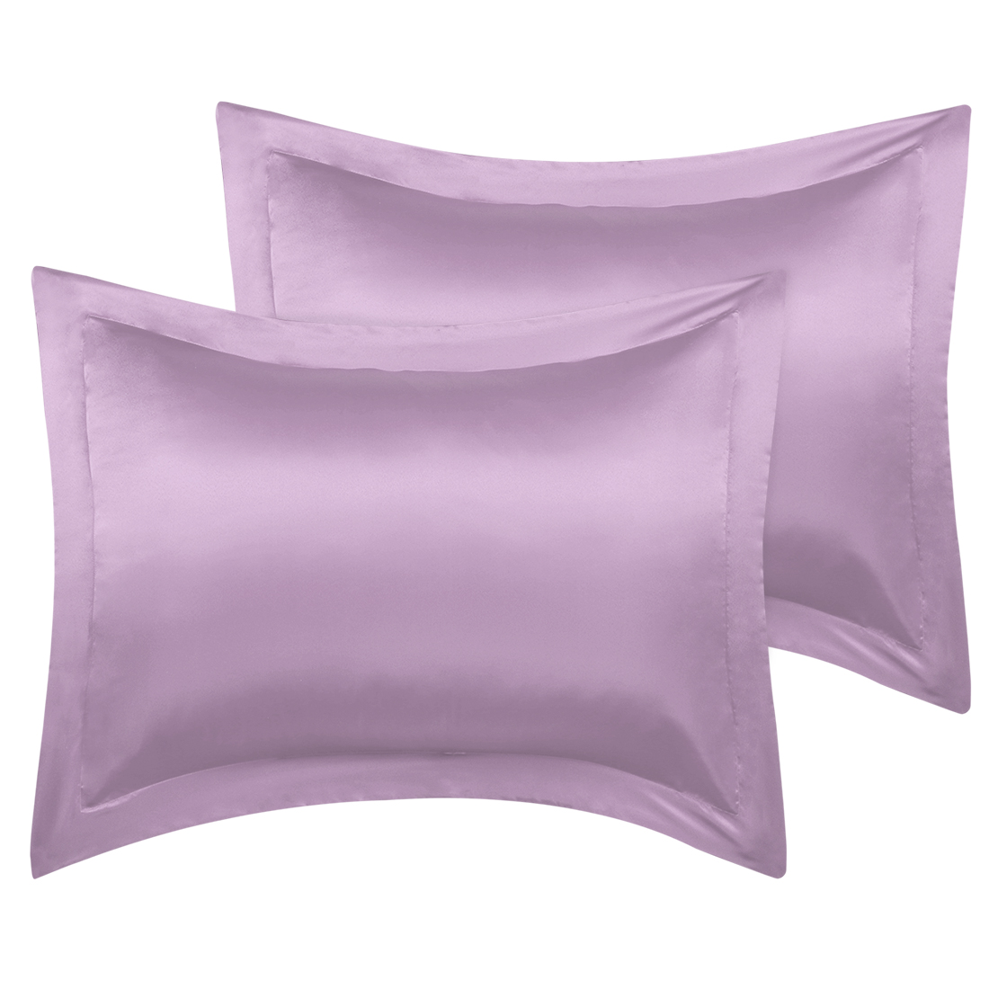 2 Pcs Mauve Pillow Shams Satin Pillow Cases Queen Oxford Pillowcases