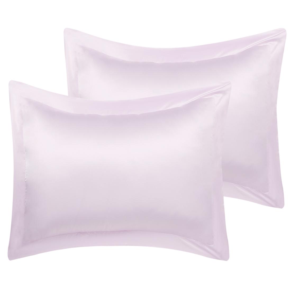 2 Pcs Lavender Gray Pillow Shams Satin Pillow Cases Queen Oxford Pillowcases
