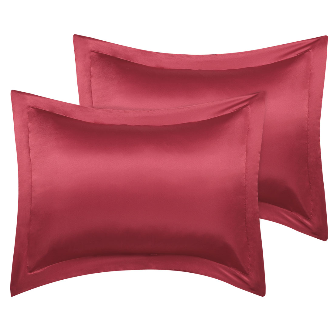 2 Pcs Wine Red Pillow Shams Satin Pillow Cases Queen Oxford Pillowcases