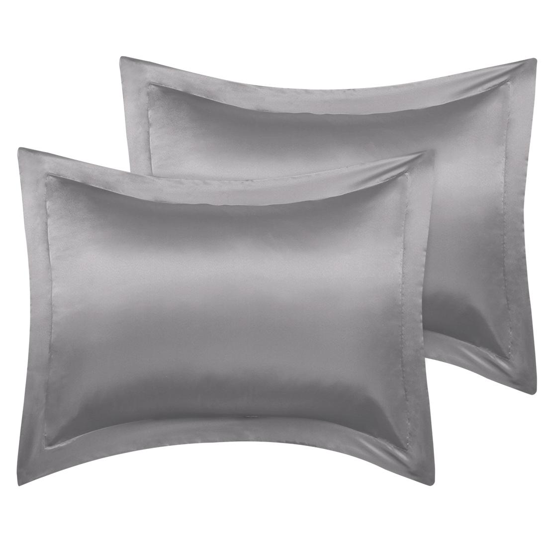 2 Pcs Grey Pillow Shams Satin Pillow Cases Queen Oxford Pillowcases