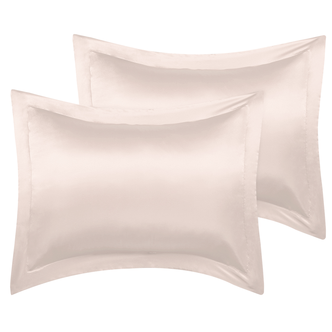 2 Pcs Light Tan Pillow Shams Satin Pillow Cases Queen Oxford Pillowcases