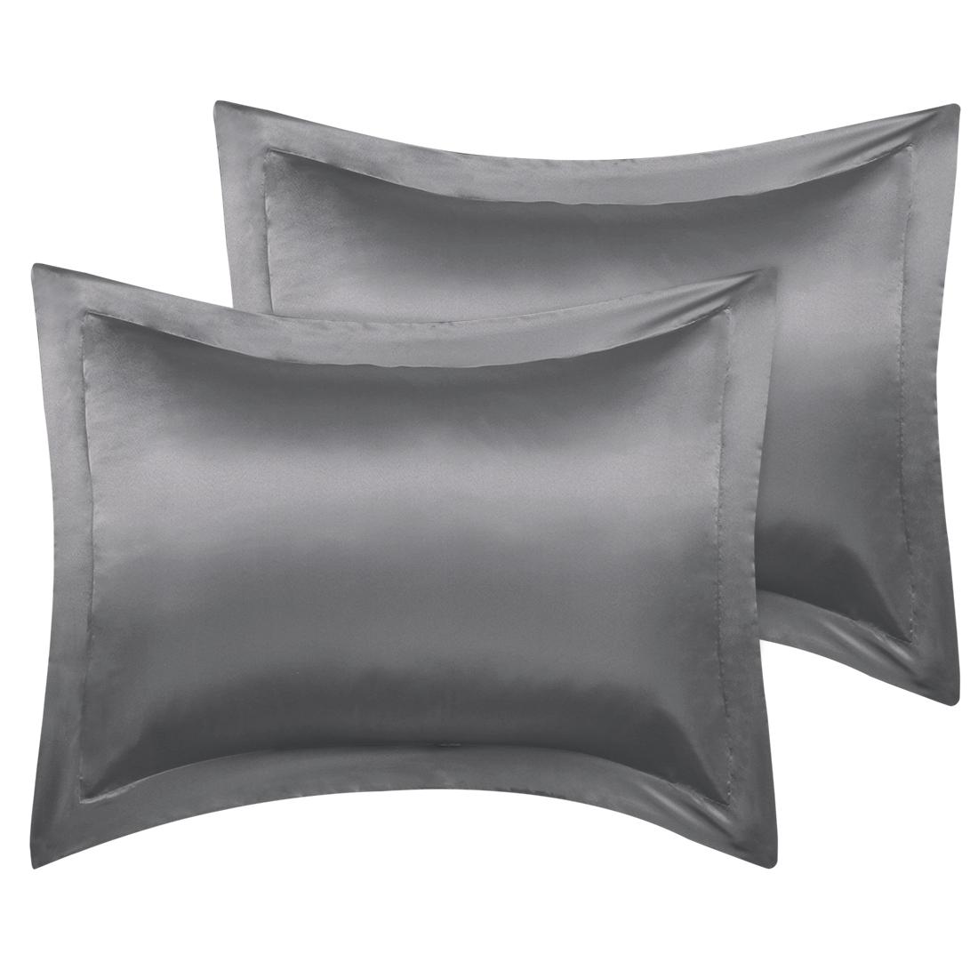 2 Pcs Deep Grey Pillow Shams Satin Pillow Cases King Oxford Pillowcases