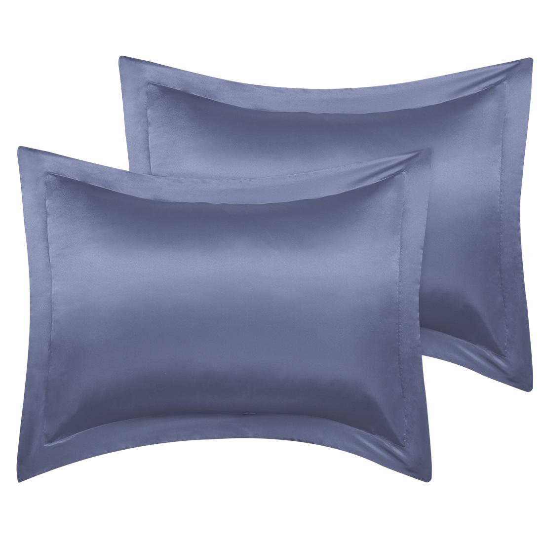 2 Pcs Slate Gray Pillow Shams Satin Pillow Cases King Oxford Pillowcases