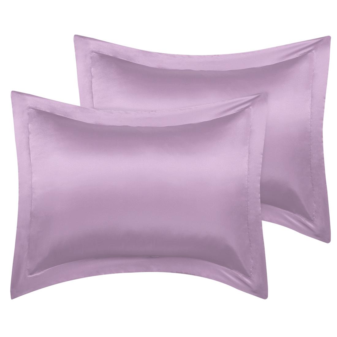 2 Pcs Mauve Pillow Shams Satin Pillow Cases King Oxford Pillowcases