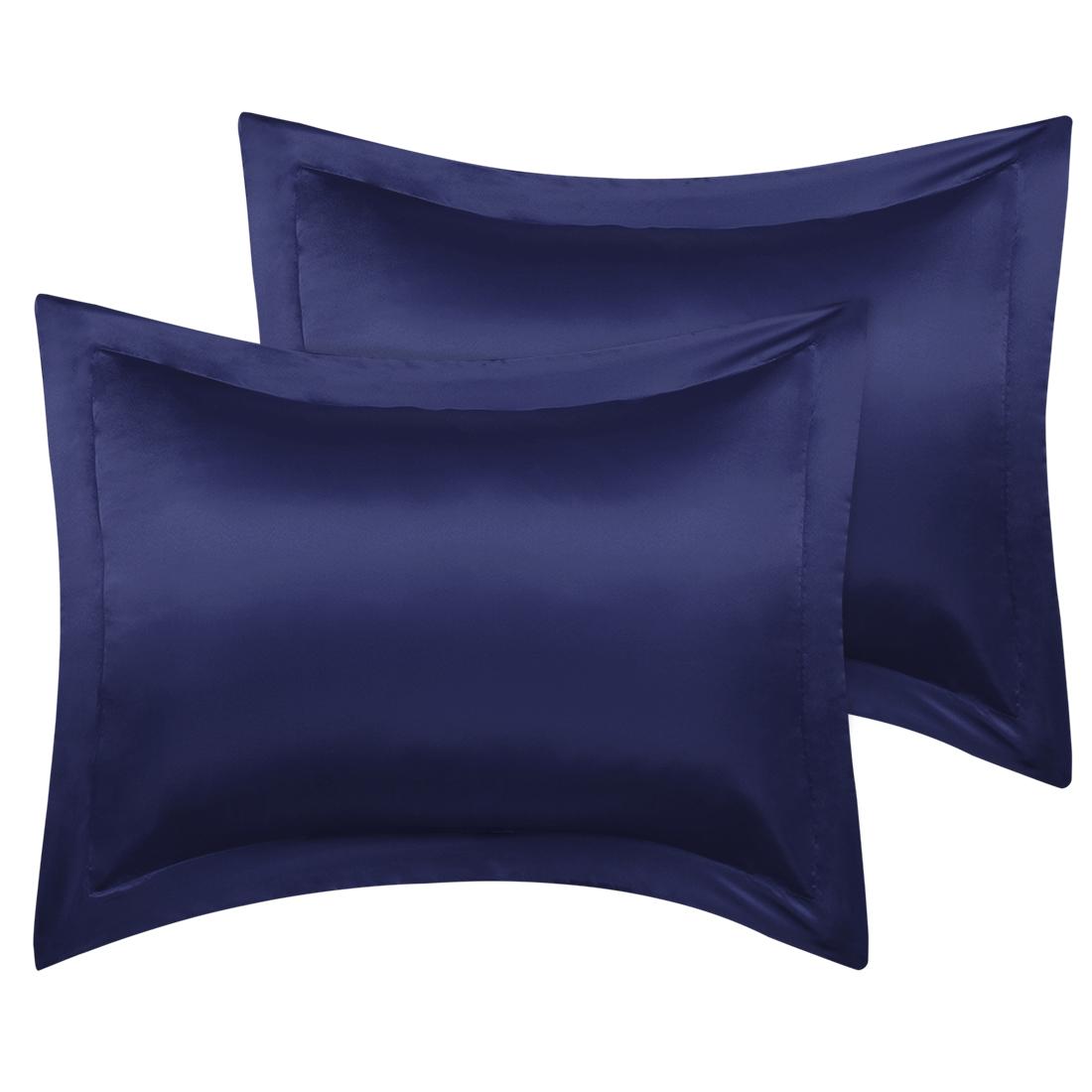 2 Pcs Navy Pillow Shams Satin Pillow Cases King Oxford Pillowcases