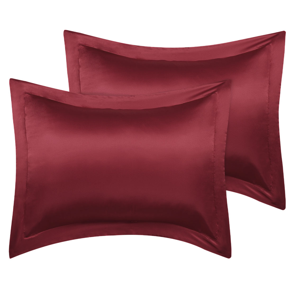 2 Pcs Wine Red Pillow Shams Satin Pillow Cases King Oxford Pillowcases