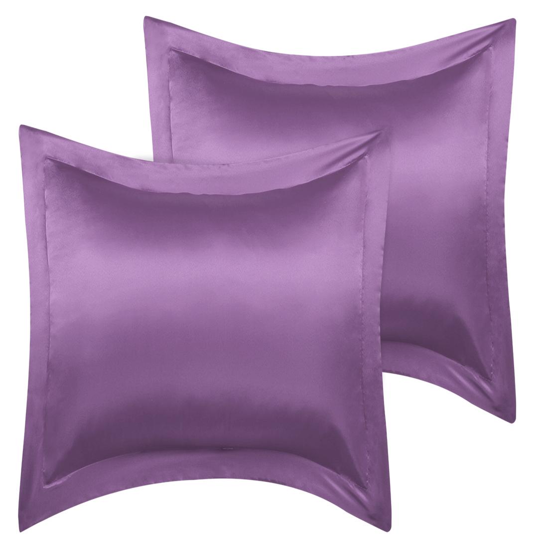 2 Pcs Purple Pillow Shams Satin Pillow Cases European Oxford Pillowcases