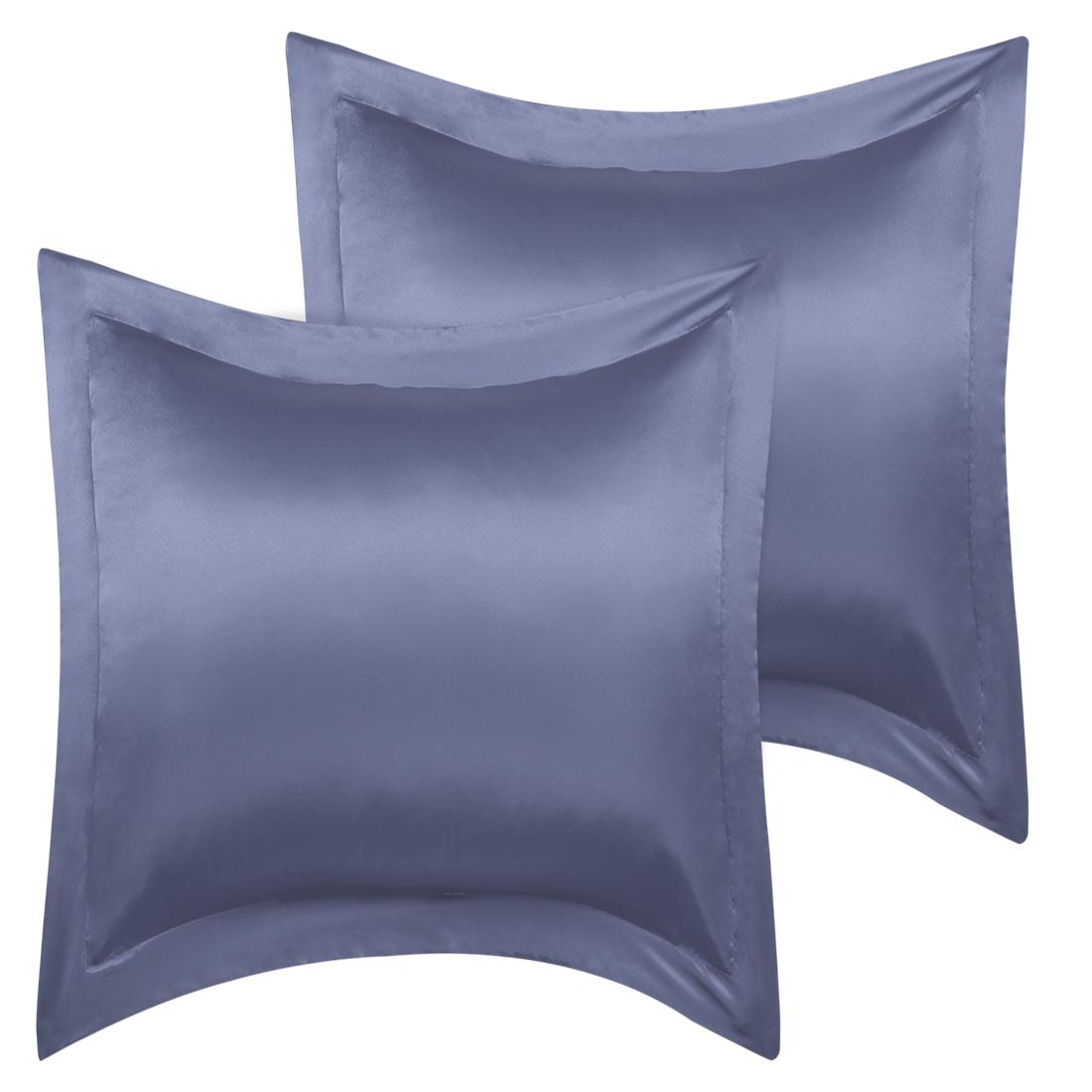 2 Pcs Slate Gray Pillow Shams Satin Pillow Cases European Oxford Pillowcases