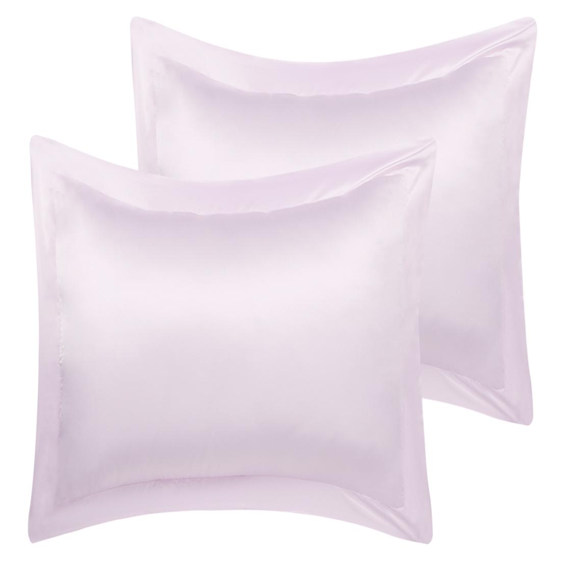 2 Pcs Lavender Gray Pillow Shams Satin Pillow Cases European Oxford Pillowcases
