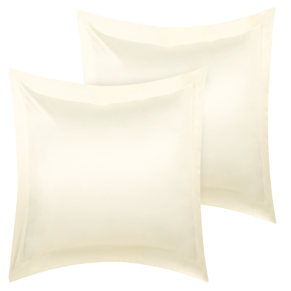2 Pcs Cream Pillow Shams Satin Pillow Cases European Oxford Pillowcases