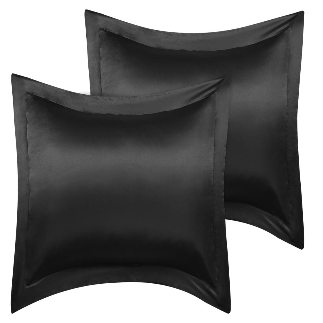 2 Pcs Black Pillow Shams Satin Pillow Cases European Oxford Pillowcases