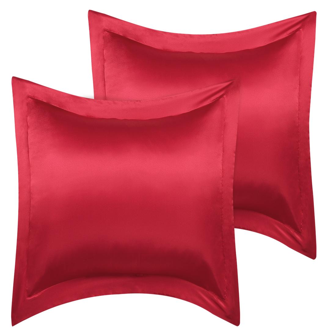 2 Pcs Wine Red Pillow Shams Satin Pillow Cases European Oxford Pillowcases