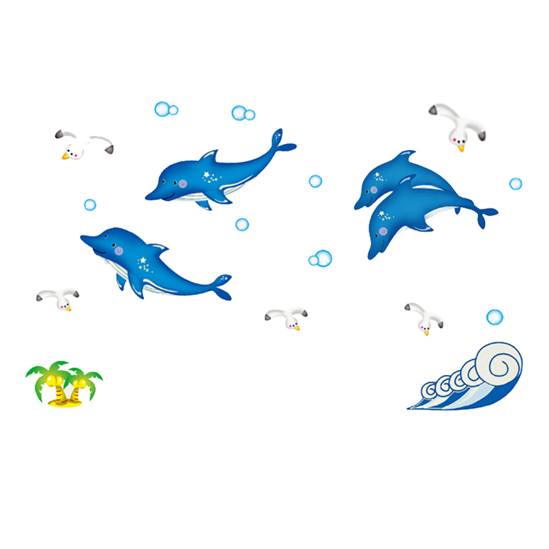 Dolphin Pattern Wall Stickers Removable Art Decal for Bedroom Living Room