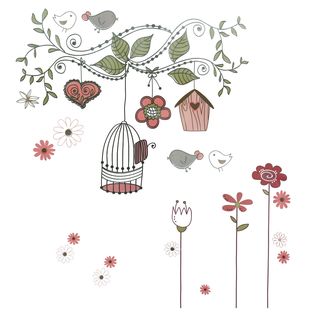 Happy Bird Pattern Wall Stickers Removable Art Decal for Bedroom Living Room