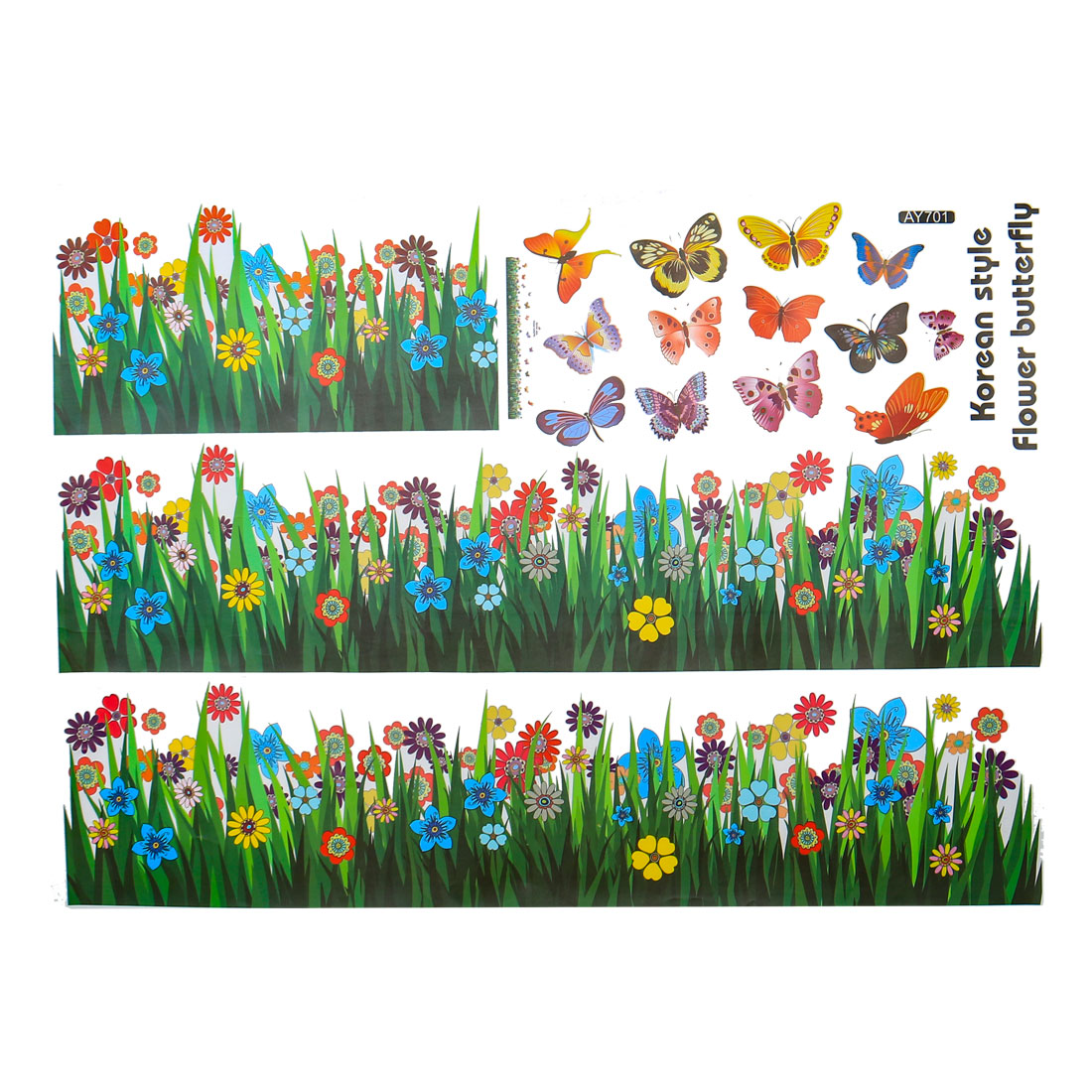 Butterfly Floral Pattern Wall Stickers Removable Decal for Bedroom Living Room