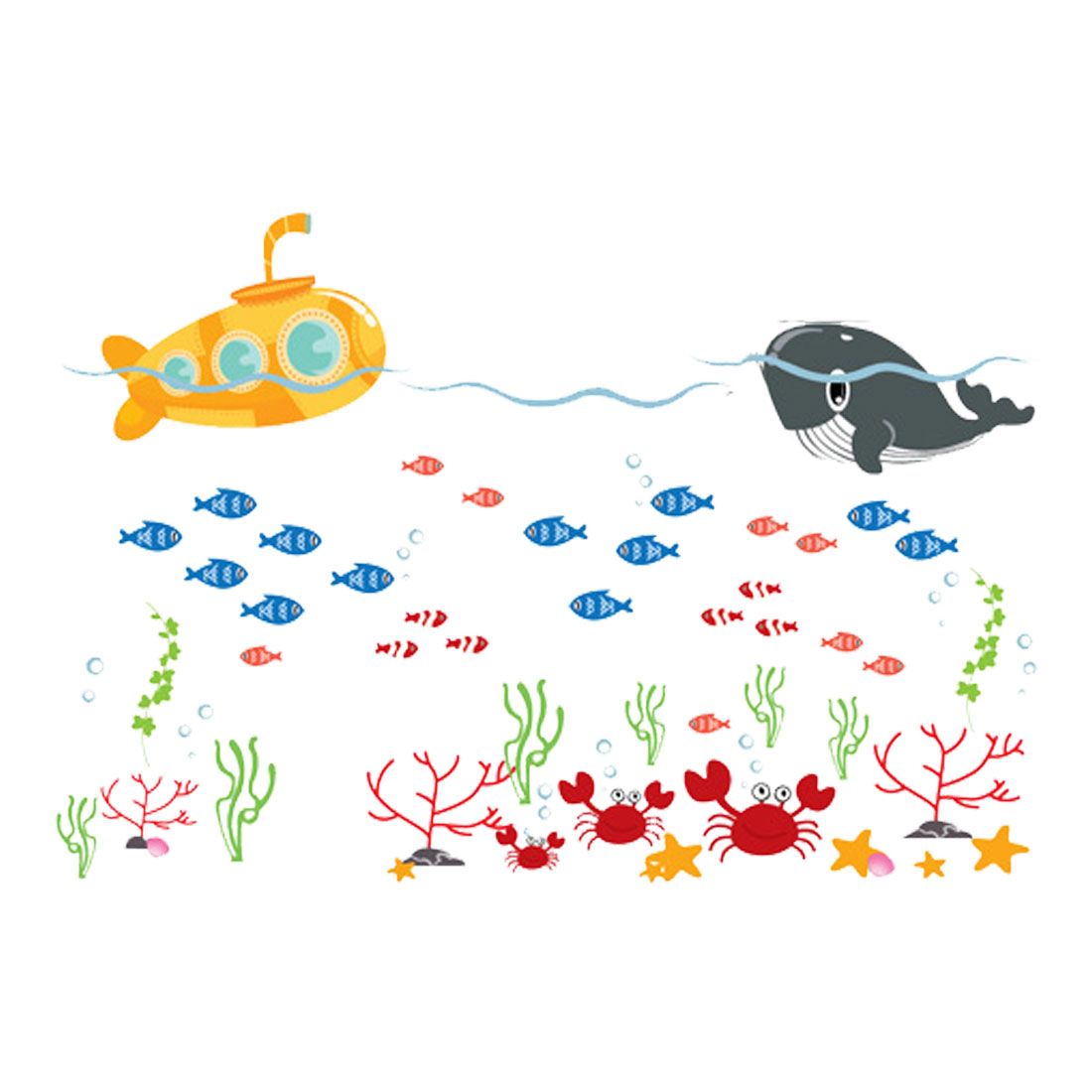 Cartoon Fish Pattern Wall Stickers Removable Art Decal for Bedroom Living Room