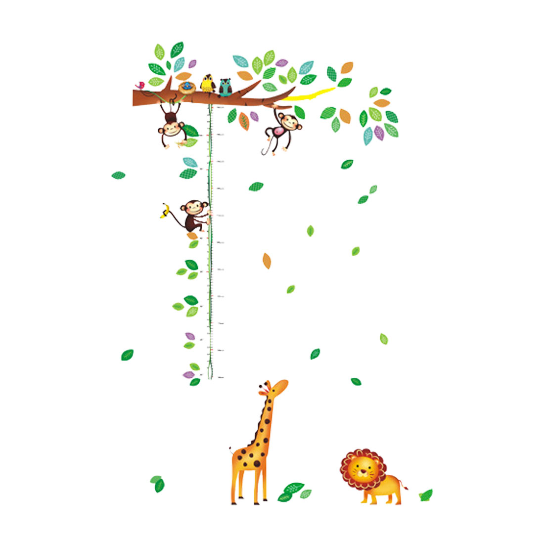 Giraffe Monkey Pattern Wall Stickers Removable Art Decal for Bedroom Living Room