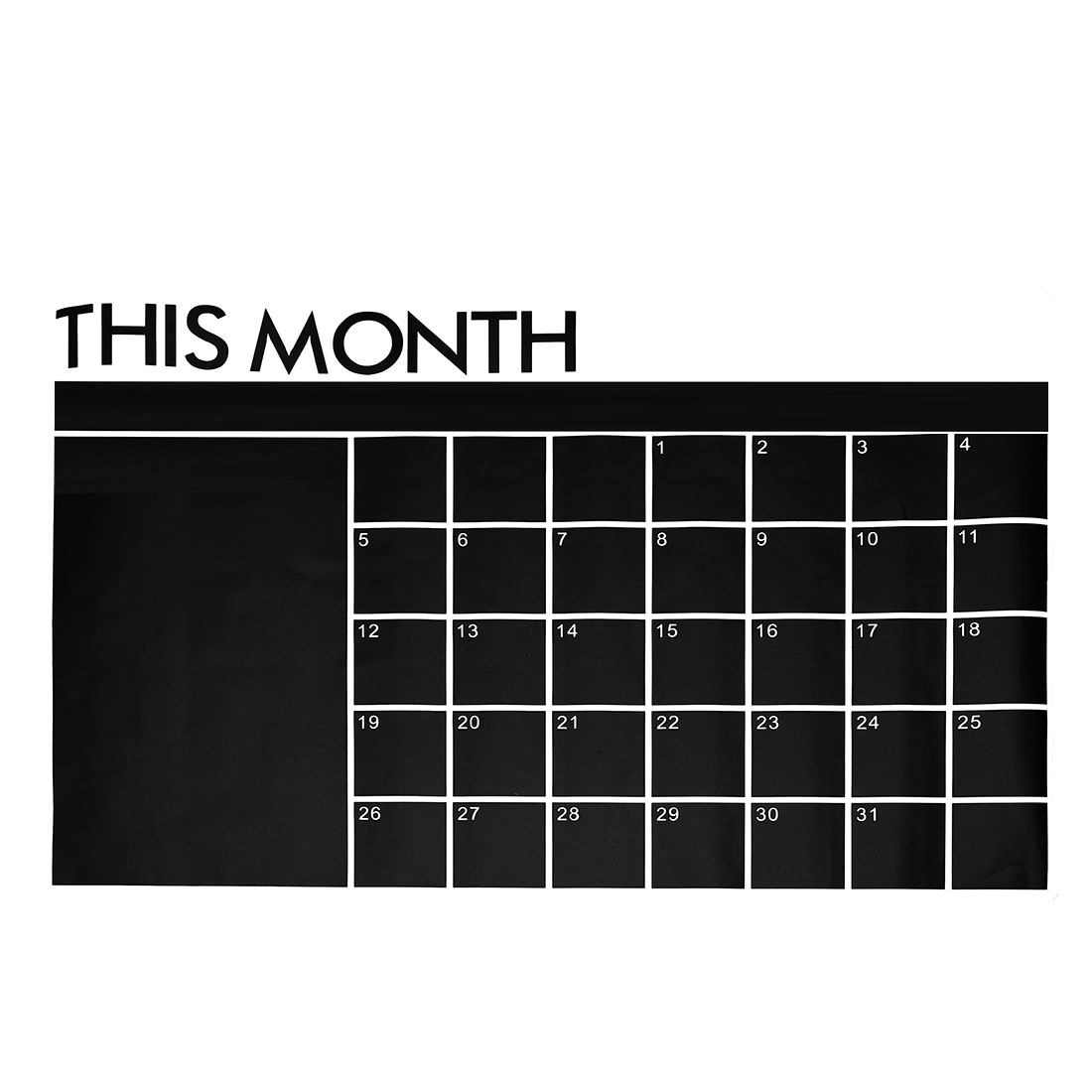 Black Calendar Blackboard Wall Stickers Removable Decal for Bedroom