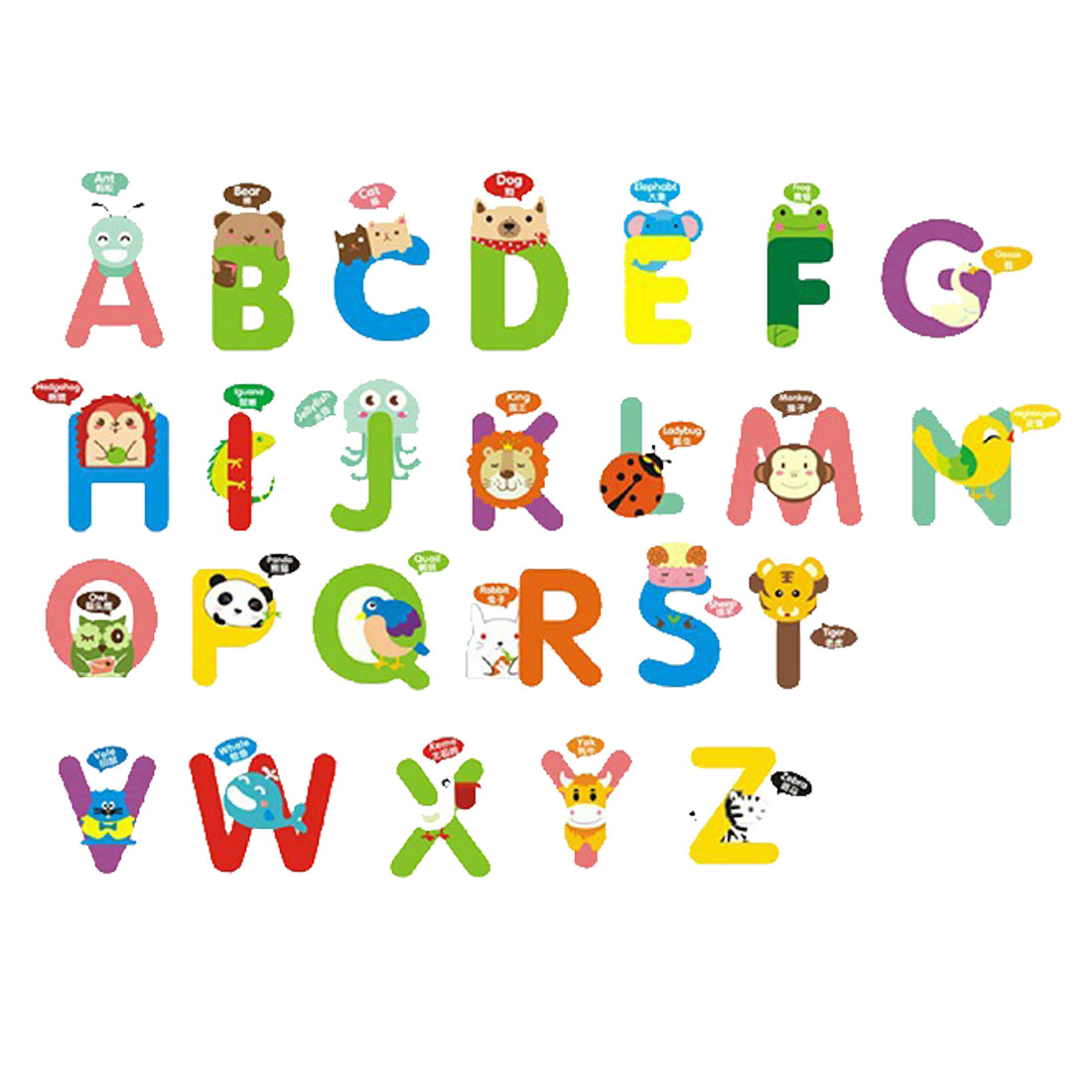 English Alphabet Wall Stickers Removable Art Decal for Living Room Bedroom