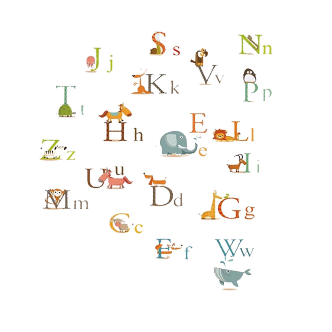 Animal English Alphabet Pattern Wall Sticker Removable Art Decal for Living Room
