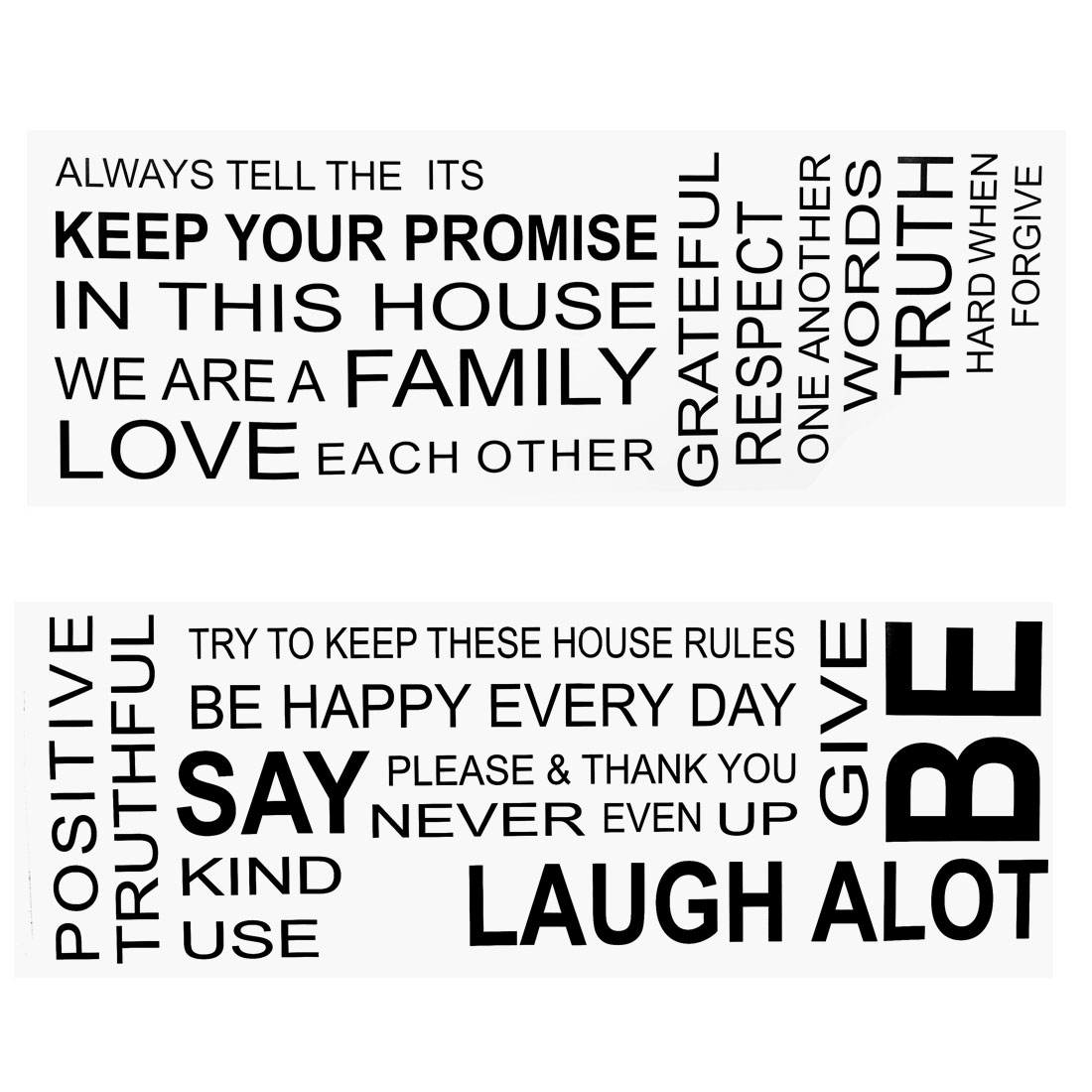 Family Rules Text Pattern Wall Stickers Removable Art Decal for Home Living Room