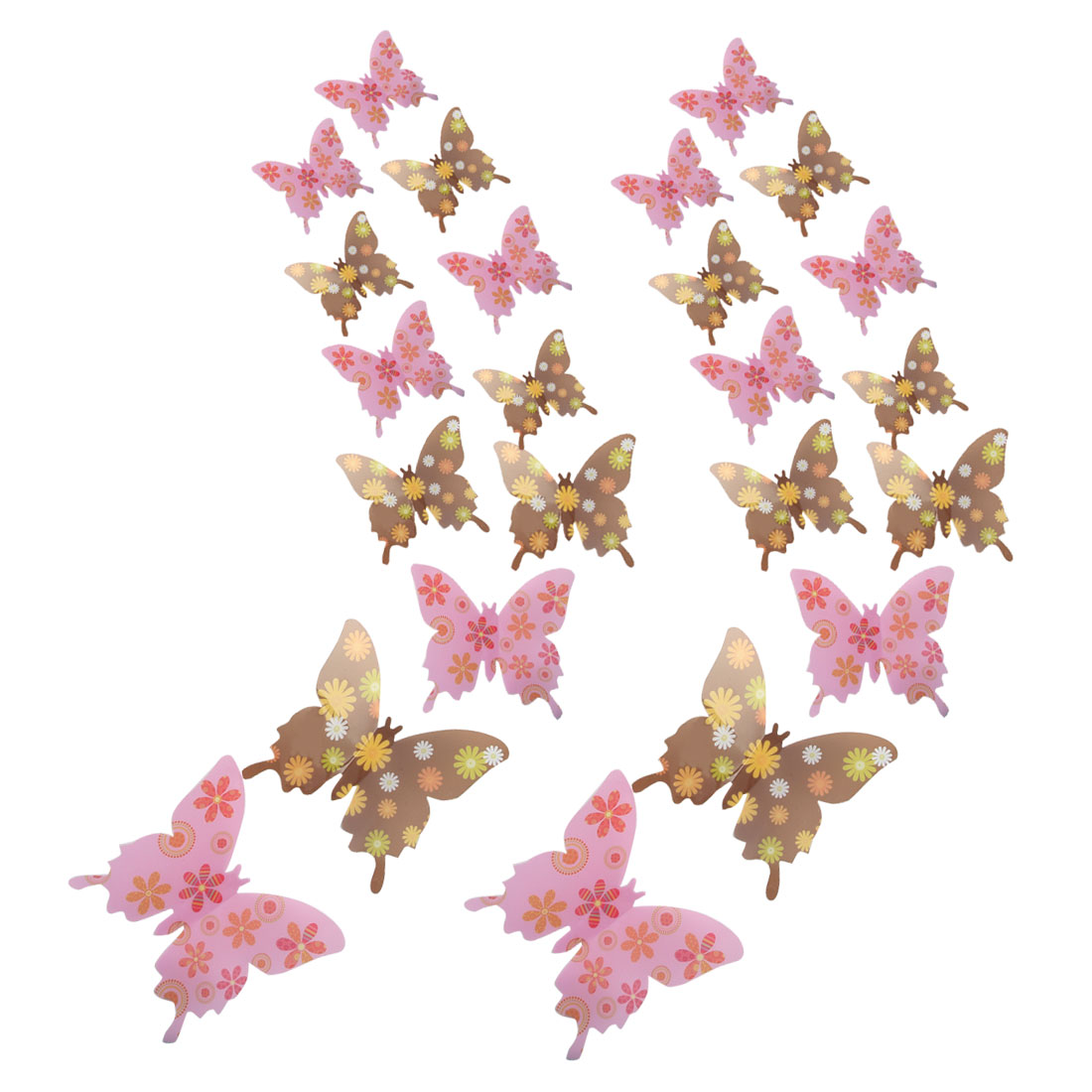 24pcs 3D Butterfly DIY Wall Sticker with Art for Room Decor Pink Chocolate Color