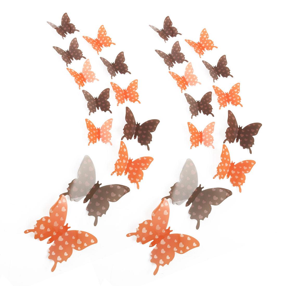 24pcs 3D Butterfly DIY Wall Sticker for Room Decoration Orange Brown