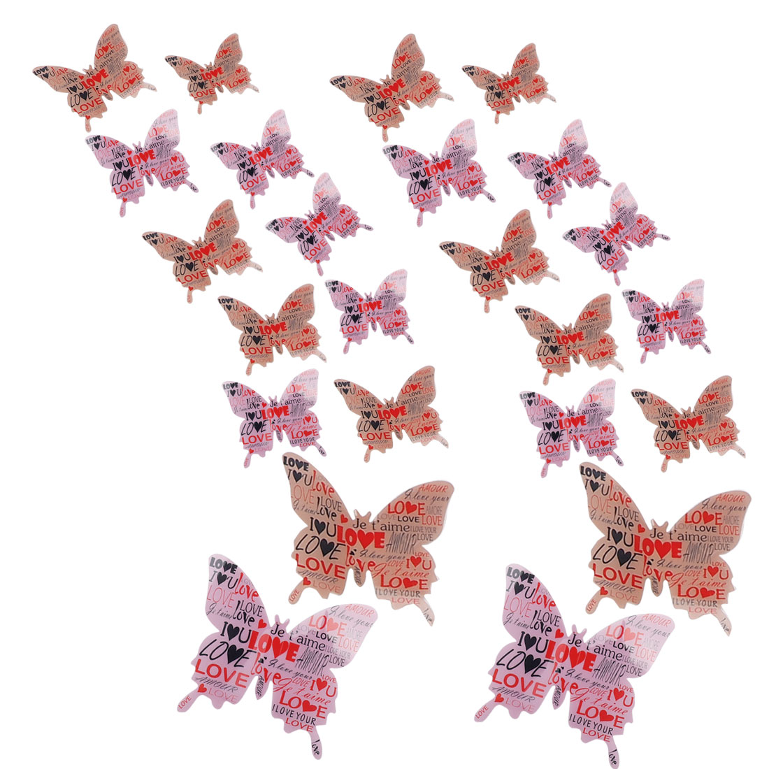 24pcs 3D Butterfly DIY Wall Sticker with Art for Room Decoration Pink Brown
