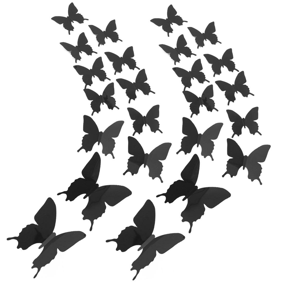 24pcs 3D Butterfly DIY Wall Sticker with Art Decals Sticker for Decor Black