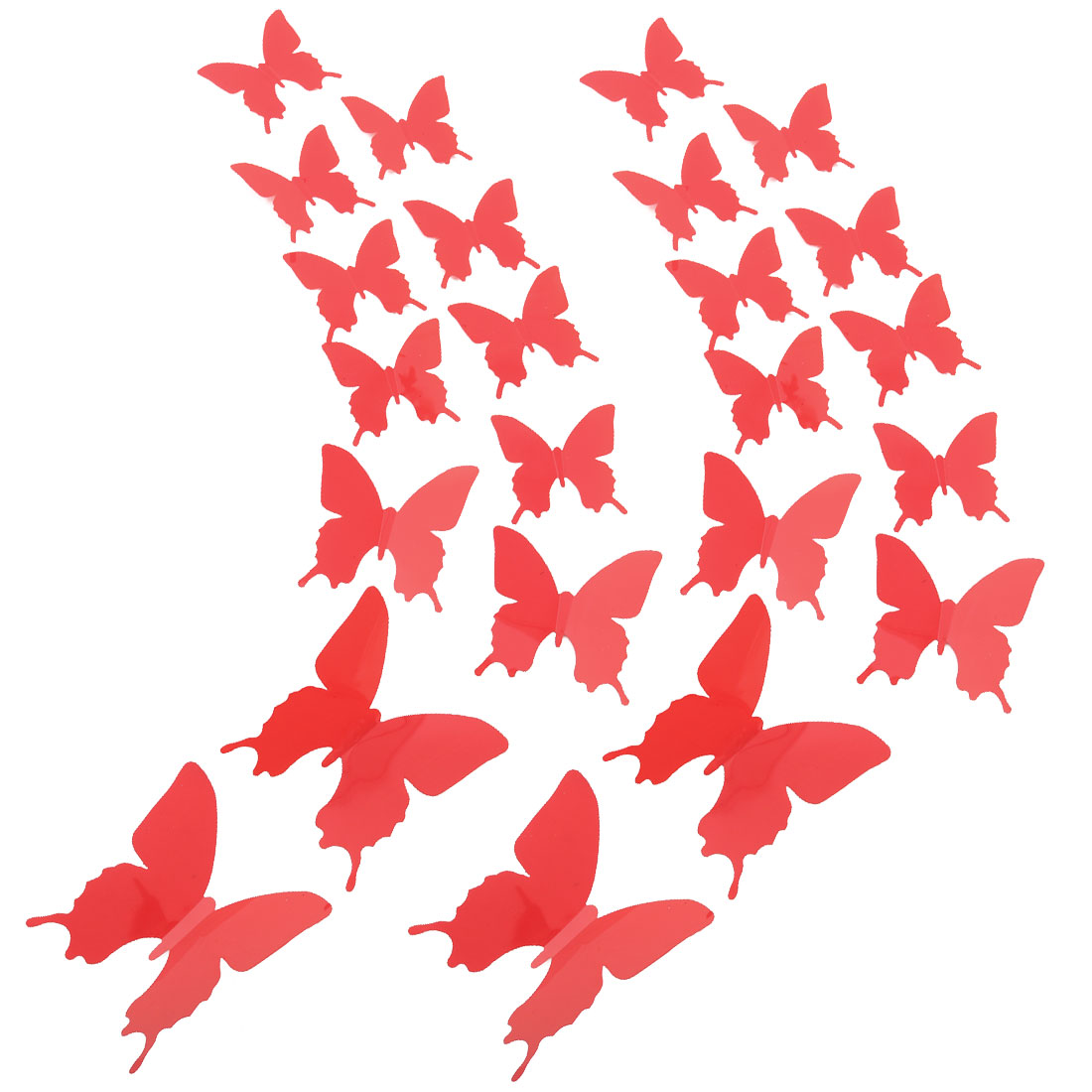 24pcs 3D Butterfly DIY Wall Sticker with Art Decals Sticker for Decoration Red
