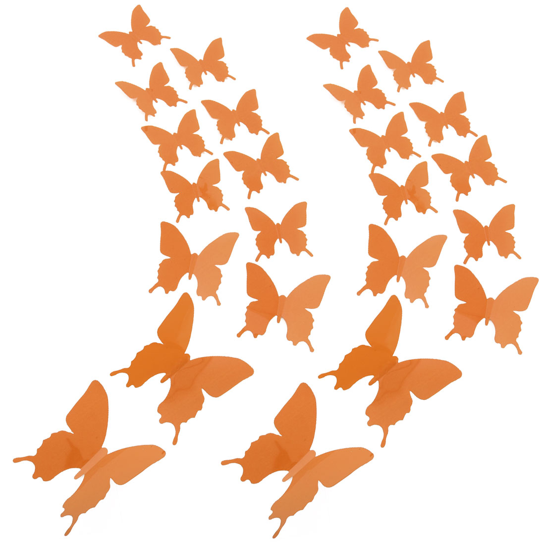 24pcs 3D Butterfly DIY Wall Sticker with Art Decals Sticker for Decor Brown